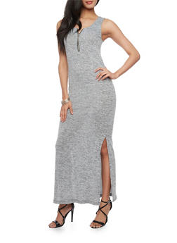 Sleeveless Marled Maxi Dress with Zip Neck Detail - 1094051063060