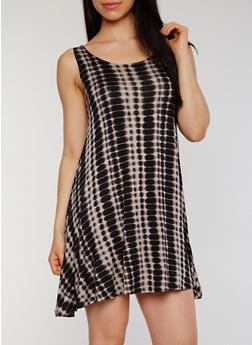 Sleeveless Scoop Neck Tie Dye Shift Dress - 1094051063076