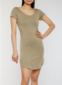 Solid Short Sleeve T Shirt Dress with Caged Back - OLIVE - 1094051063078