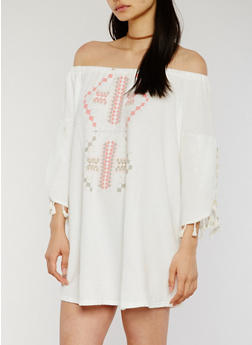 Off The Shoulder Shift Dress with Tassels - 1094051063102