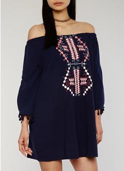 Off The Shoulder Shift Dress with Tassels - 1094051063102