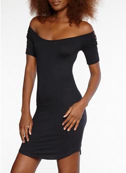 Soft Knit Caged Sleeve Off the Shoulder Dress - BLACK - 1094051063456