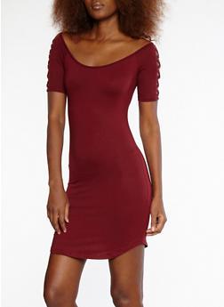 Soft Knit Caged Sleeve Off the Shoulder Dress - 1094051063456