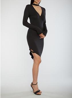 Asymmetrical Choker Neck Bodycon Dress - BLACK - 1094051063466