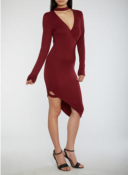 Asymmetrical Choker Neck Bodycon Dress - 1094051063466