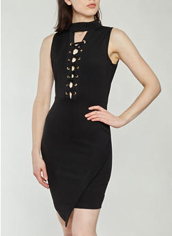 Textured Knit Faux Wrap Lace Up Bodycon Dress - 1094051063470