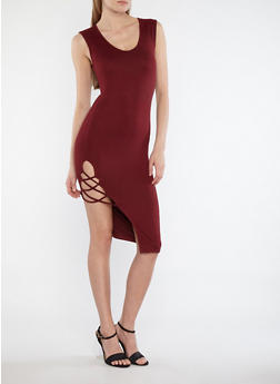 Soft Knit Midi Dress with Side Caging - 1094051063476