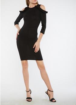 Rib Knit Cold Shoulder Sweater Dress - BLACK - 1094051063492