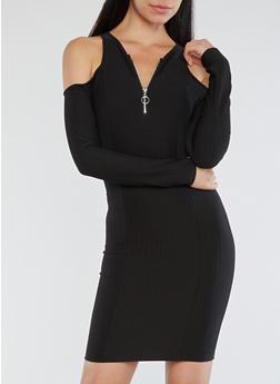 Ribbed Knit Zip Neck Cold Shoulder Dress - 1094051063493