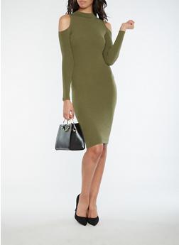 Rib Knit Cold Shoulder Sweater Dress - OLIVE - 1094051064002