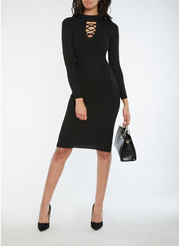Rib Knit Caged Neck Sweater Dress - 1094051064003