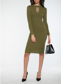 Rib Knit Caged Neck Sweater Dress - OLIVE - 1094051064003