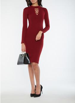 Rib Knit Caged Neck Sweater Dress - 1094051064003