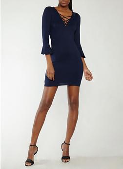 Rib Knit Bell Sleeve Dress - 1094054265885