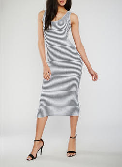 Sleeveless Striped Scoop Neck Midi Dress - 1094054266289
