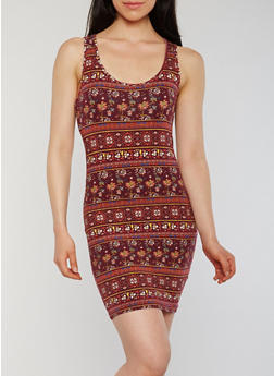 Printed Bodycon Racerback Tank Dress - 1094054266573