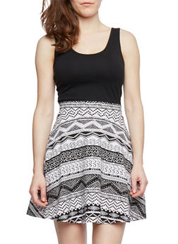 Skater Tank Dress with Aztec Print and Scoop Neck - 1094054266650