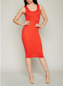 Mid Length Rib Knit Bodycon Dress - 1094054267277
