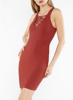 Ribbed Knit Lace Up Sweater Dress - 1094054268218