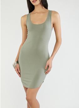 Ribbed Knit Caged Back Dress - 1094054268362