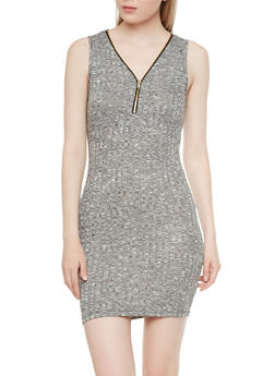 Marled Knit Dress with Zip Up Neck - 1094054268423