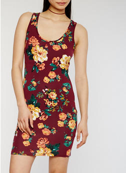 Floral Print Bodycon Tank Dress - 1094054268573