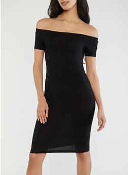 Off the Shoulder Ribbed Knit Dress - 1094054268653