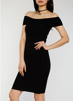 Off The Shoulder Rib Knit Midi Dress - 1094054268725