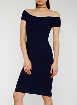 Off The Shoulder Rib Knit Midi Dress - 1094054268725