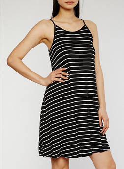 Striped Spaghetti Strap Tank Dress - 1094054268806