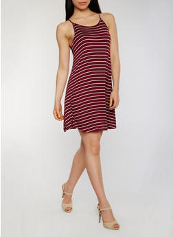 Striped Spaghetti Strap Tank Dress - BURGUNDY/WHITE - 1094054268806