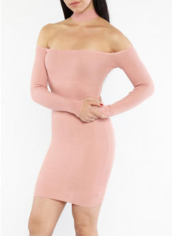 Ribbed Knit Off the Shoulder Choker Neck Dress - 1094054268855