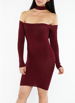 Ribbed Knit Off the Shoulder Choker Neck Dress - 1094054268855