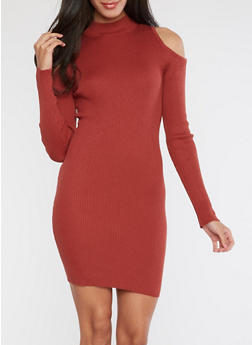 Ribbed Knit Cold Shoulder Dress - 1094054268902