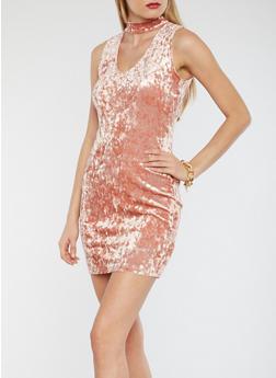 Crushed Velvet Keyhole Dress - 1094054268917