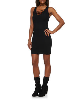 Rib Knit Bodycon Dress with Lace Up Neckline - BLACK - 1094054269218