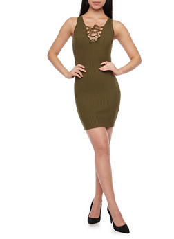 Rib Knit Bodycon Dress with Lace Up Neckline - OLIVE - 1094054269218