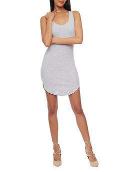 Short Soft Knit Caged V Back Tank Dress - 1094054269362