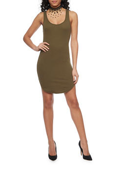 Short Soft Knit Caged V Back Tank Dress - 1094054269362