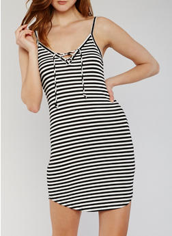 Lace Up Striped Cami Dress - 1094054269450