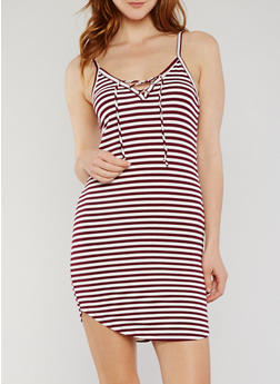 Lace Up Striped Cami Dress - BURGUNDY/WHITE - 1094054269450