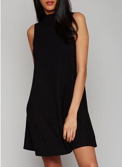 Mock Neck Rib Knit Shift Dress - BLACK - 1094054269535