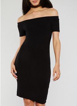 Off the Shoulder Rib Knit Bodycon Dress - BLACK - 1094054269653