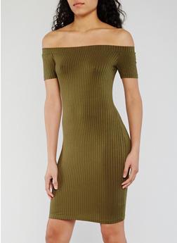 Off the Shoulder Rib Knit Bodycon Dress - 1094054269653
