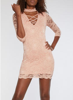 Caged Keyhole Neck Lace Dress - 1094054269819