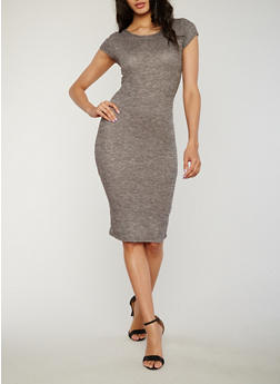 Knit Midi Dress with Caged Back - 1094058750031