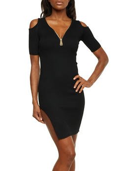 Mini Rib Knit Cold Shoulder Dress with High Side Slit - BLACK - 1094058750090