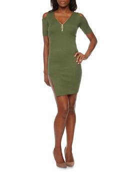 Mini Rib Knit Cold Shoulder Dress with High Side Slit - 1094058750090