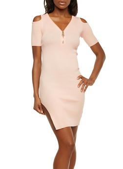 Cold Shouler Dress with Oversize Zip V Neck - BLUSH - 1094058750090