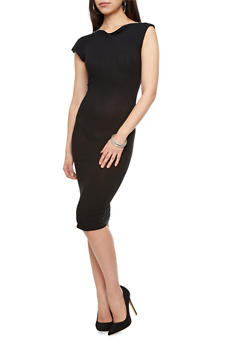 Cap Sleeve Ribbed Bodycon Midi Dress with Zippered Bateau Neck,BLACK,medium